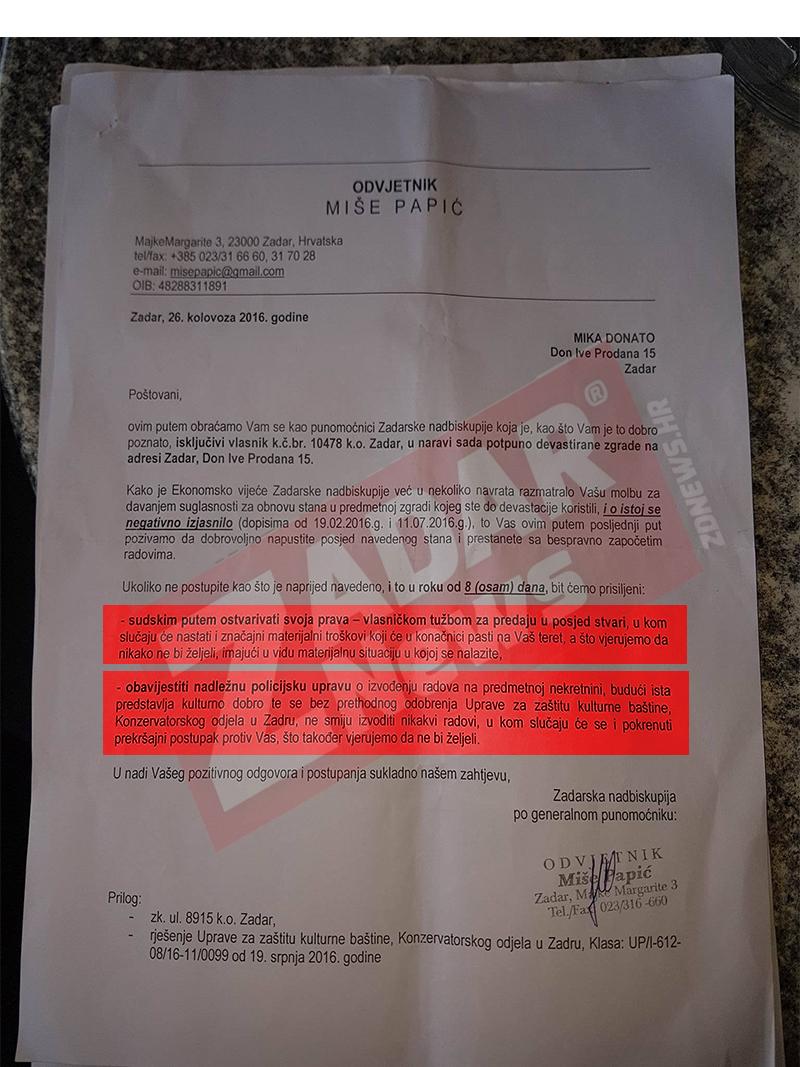 """Prijetnja deložacijom """"u fino"""" od strane Miše Papića u ime Zadarske Nadbiskupije - kliknite za veću sliku"""