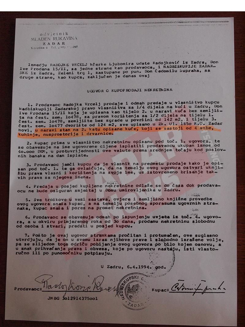 Ugovor između Radojke Vrcelj i Zadarske Nadbiskupije